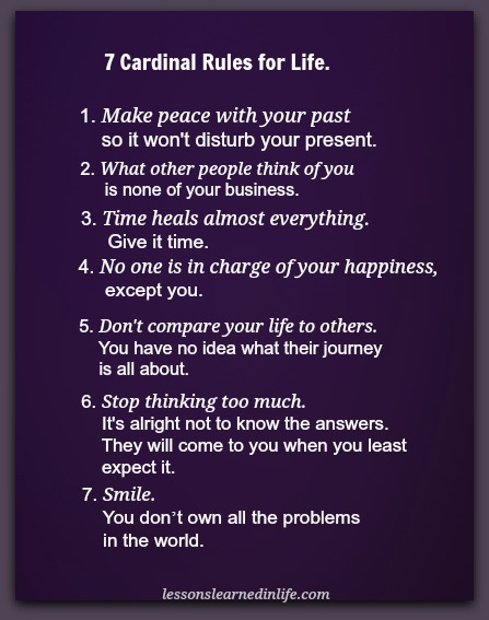 Lessons Learned In Life7 Cardinal Rules For Life Lessons Learned