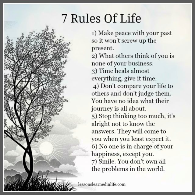 Inspirational Quotes On Life: Lessons Learned In Life7 Rules Of Life.