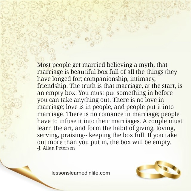 Quotes Of Marriage Life: Lessons Learned In LifeThe Marriage Box.