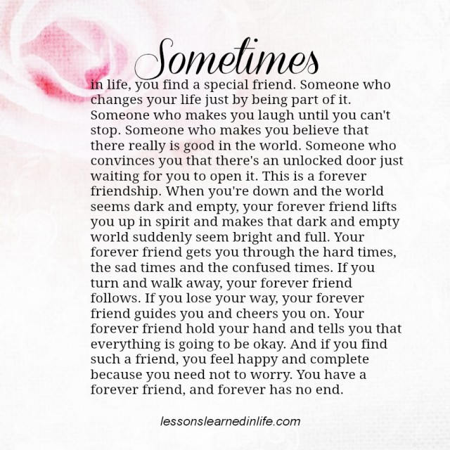 Lessons Learned in LifeForever Friend. - Lessons Learned in Life
