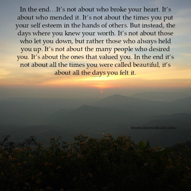 Lessons Learned In Lifein The End It S All About This Lessons