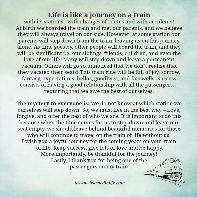 Life Journey Quotes Beauteous Lessons Learned In LifeLife Is Like A Journey On A Train Lessons
