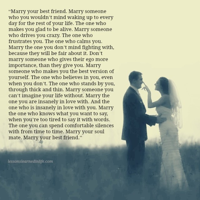 Lessons Learned In LifeMarry Your Soulmate.