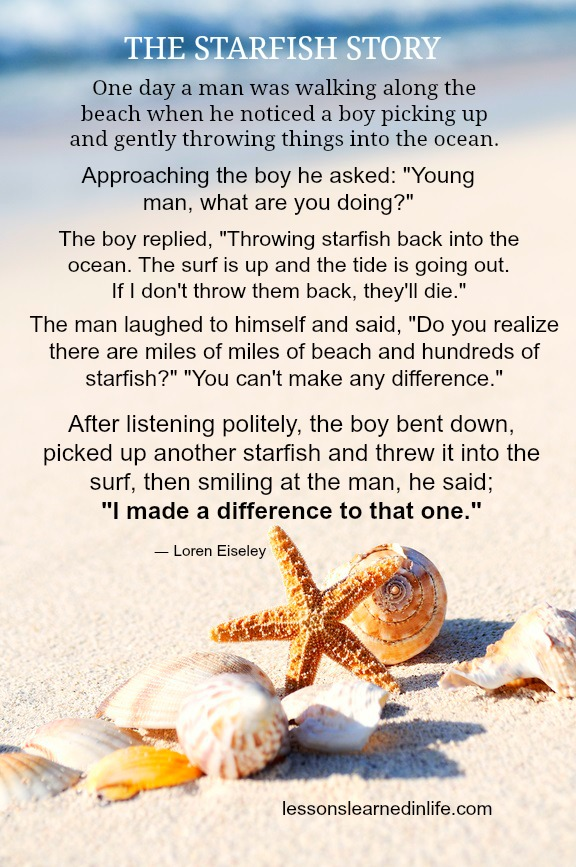 Lessons Learned in LifeThe starfish story  - Lessons Learned