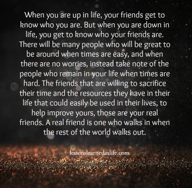 lessons learned in lifethose are your real friends lessons