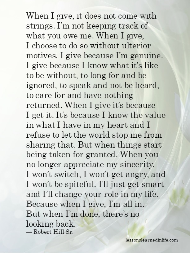 Lessons Learned In Lifewhen Im Done Theres No Looking Back