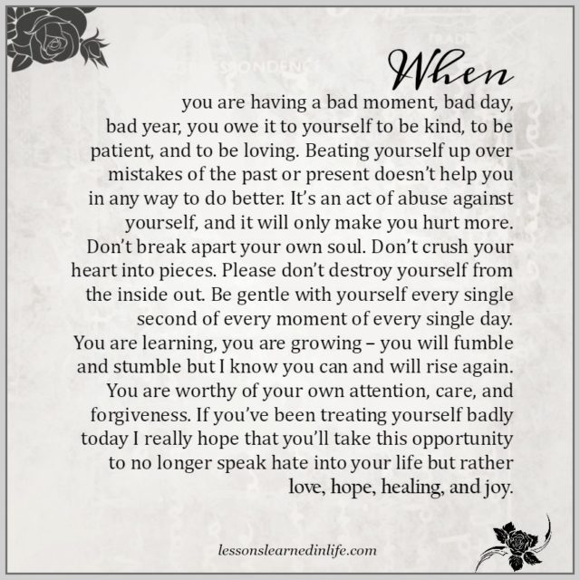 Lessons Learned in LifeWhen you are having a bad moment, bad day ...