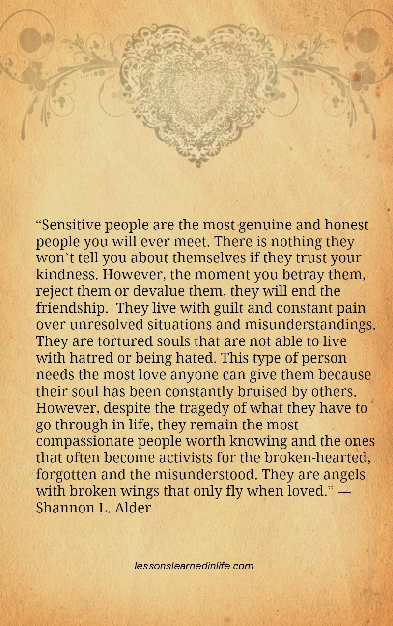 Lessons Learned In Lifesensitive People Lessons Learned In Life