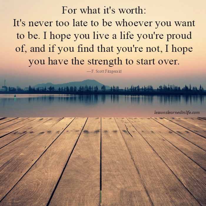 Lessons Learned In Lifestart Over Lessons Learned In Life